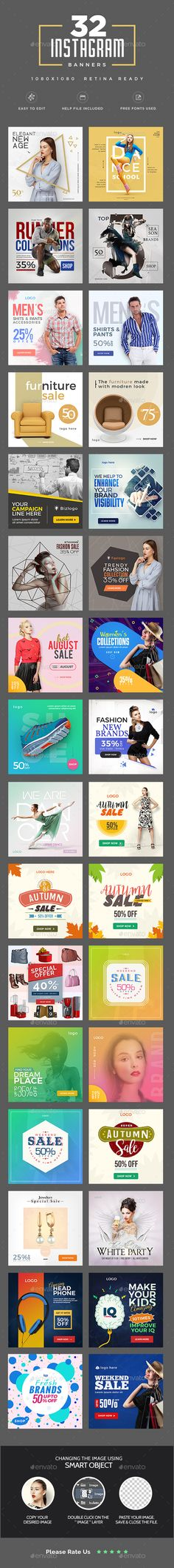 Promote your Products and services in Instagram with this awesome looking banner sets. 32 awesome quality banner template PSD fil
