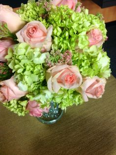 A seasonal wedding bouquet. This summer bouquet is made up of roses, hydrangeas and pink rice flowers. Bridesmaid Bouquet, Wedding Bouquets, Wedding Flowers, Artificial Flower Arrangements, Artificial Flowers, Here Comes The Bride, Wedding Season, Seasonal Decor, Pink Roses