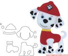 Cachorrinhos com moldes Felt Animal Patterns, Felt Crafts Patterns, Applique Patterns, Stuffed Animal Patterns, Po Patrol, Paw Patrol Party, Paw Patrol Birthday, Paw Patrol Marshall, Peluche Star Wars