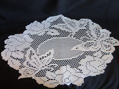 VINTAGE Doily Fliet Crochet 1940s or 50s by CountryCoveCreations
