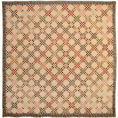 Early Twentyfive Patch Quilt | From a unique collection of antique and modern quilts at http://www.1stdibs.com/furniture/folk-art/quilts/