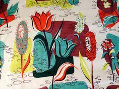 1950s barkcloth fabric