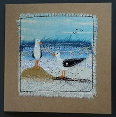 This, that and everything inbetween: A few more little bits of my art Freehand Machine Embroidery, Free Motion Embroidery, Embroidery Applique, Fabric Postcards, Fabric Cards, Paper Cards, Thread Painting, Fabric Painting, Beach Quilt