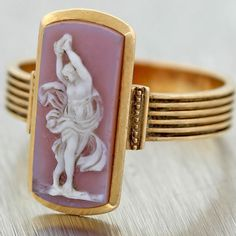 Antique Victorian Art Nouveau C1910 Solid 18K Gold Cameo Cocktail Ring #Handmade #Cocktail