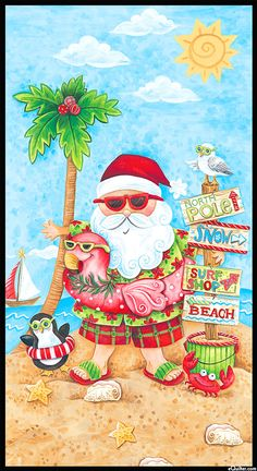 Holiday Beach - Tropical Santa - 24 x 44 PANEL Quilt fabric online store Largest Selection, Fast Shipping, Best Images, Ship Worldwide Christmas In July Decorations, Blue Christmas Lights, Christmas Hearts, All Things Christmas, Tropical Christmas, Beach Christmas, Coastal Christmas, Caribbean Christmas, Holiday Beach