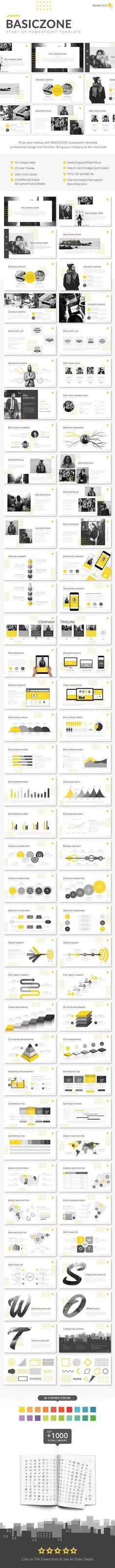 Basiczone V1 - Start Up Powerpoint Template 70+ Unique Slides #pptx