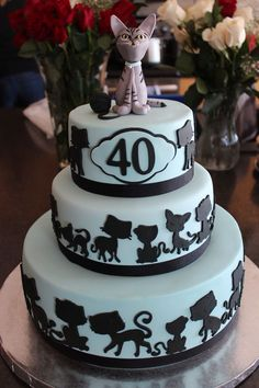 Birthday Cake Client Requested That The Have 40 Cats On It As Well Topper Resembled Family Cat