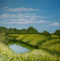 'Summertime' (at Kingsthorpe Mill) by Petar Novakovic Summertime, Golf Courses, River, Artist, Painting, Outdoor, Outdoors, Painting Art, Paintings