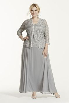 Plus Size Two Piece Lace and Chiffon Jacket Mother of Bride/Groom Dress Style. A demure yet stylish look that is ideal for any mother of the bride or groom! Mother Of The Bride Plus Size, Mother Of The Bride Gown, Mother Of Groom Dresses, Bride Groom Dress, Mothers Dresses, Bride Gowns, Evening Dresses Plus Size, Wedding Dresses Plus Size, Plus Size Dresses