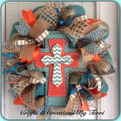 Chevron cross burlap everyday deco mesh wreath by CreatedByTerri
