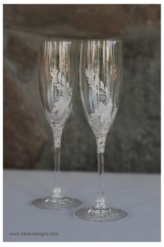 White Wedding Glasses. Wedding champagne glasses hand painted.. €35.00, via Etsy.
