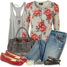 floral knit cardigan with shiny red flats and denim. So cute :)