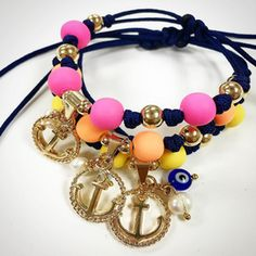 Bracelets By Vila Veloni Blue Rope With Cute Anchor And Eye