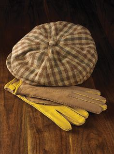 Halifax Cap in Tan and Brown Check shown with Tan And Gold Deerskin Gloves