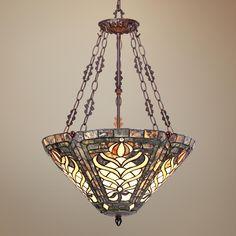"Olive 3-Light 25"" High Tiffany Style Art Glass Pendant Light -"