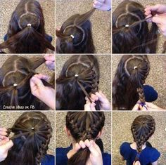 Woah!! A pinwheel braid that comes down in the back. Too cool.