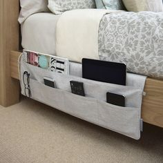 A bedside caddy that\'ll never leave you without the remote or your reading glasses.