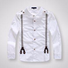 Camisetas clásicas de manga larga de algodón blanco para niños y niñas en  Camisas de Mamá f1a5936944801