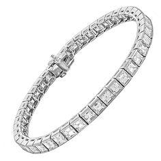 16 Carats Asscher Cut Diamonds Platinum Bracelet  | From a unique collection of vintage tennis bracelets at https://www.1stdibs.com/jewelry/bracelets/tennis-bracelets/