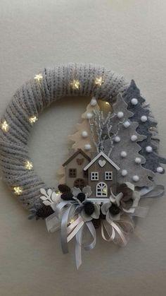 Felt Christmas, Homemade Christmas, Simple Christmas, Christmas Holidays, Christmas Ornaments, Easy Christmas Decorations, Holiday Wreaths, Advent Wreaths, Christmas Projects
