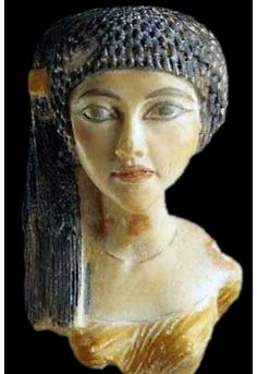 Egyptian Pharaoh Akhenaten's daughter Sculptured bust Made of polymer This daughter of Akhenaten indentified as Ankh -en-pa-Aton is cleverly painted in stylized elegance New Kingdom Dynasty Around 1345 BC. Ancient Egypt Art, Ancient Myths, Ancient Artifacts, Ancient History, Egyptian Pharaohs, Egyptian Art, Cleopatra, Ancient Civilizations, Archaeology