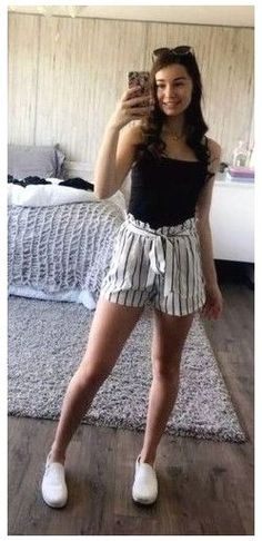 Shorts Outfits For Teens, Cute Summer Outfits For Teens, Comfy School Outfits, Summer School Outfits, Casual Summer Outfits Shorts, Teen Summer, Summer Hair, Outfit Summer, Summer Shorts