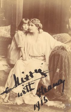 Princess Ileana of Romania Gallery / Missy (Queen Marie) with Ileana 1915 Signed Postcard Romanian Royal Family, Queen V, Victoria, Descendants, Austria, Marie, The Past, Royalty, Christian