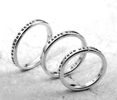 Customized Stamped Rings - aka Smooth Like Butter Posey Rings - custom made in sterling silver by Kathryn Riechert (Tiny Text)