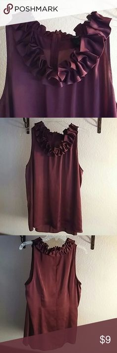 Burgundy Sleeveless Blouse Beautiful sleeveless blouse. Great for any season. Perfect under a blazer or suit jacket.  Can dress up or down. I've worn this with a full business suit and also with jeans and a blazer. There is a tiny snag near the left armpit. Can't see it when wearing and is pictured in the last photo. Ann Taylor Tops Blouses