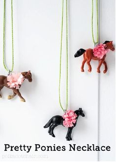 Check out these adorable DIY Pretty Ponies Necklaces for party favor inspiration for your next horse-themed birthday party!