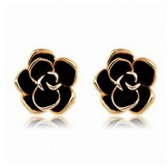 Stud Earrings, LovEnter Black Rose Flower, 18K Yellow Gold Plated Edge ($11) ❤ liked on Polyvore featuring jewelry, earrings, gold jewelry, flower stud earrings, 18k gold jewelry, flower earrings and gold jewellery
