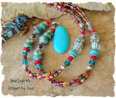 Türkis Halskette Boho-Südwest Multi Color Halskette von BohoStyleMe