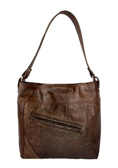 Brown Leather Shoulderbag - handmade from an outdated distressed brown leather jacket by Uptown Redesigns in New Orleans.