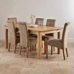 Alto Natural Real Oak Dining Set  6Ft Table With 6 Scroll Back Alluring Dining Room Chairs Oak Design Decoration