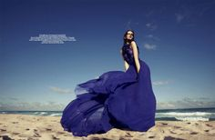 The model Victoire Macon-Dauxerre was photographed by Benny Horne for a Wonderland magazine March 2011 editorial dubbed Banana! Wonderland, Hollywood Red Carpet, Kissing In The Rain, Fishtail Dress, Fitness Photos, Blue Maxi, Color Azul, Colour, Vestidos