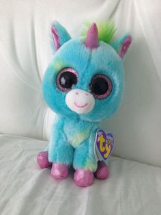 Beanie boos rare treasure justice beanie boos I love unicorns Big Eyed Animals, Ty Animals, Ty Stuffed Animals, Plush Animals, Rare Beanie Boos, Ours Boyds, Ty Teddies, Ty Boos, Ty Peluche