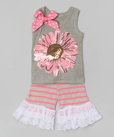 Loving this Pink Daisy Sequin Tank & Ruffle Shorts - Infant, Toddler & Girls on #zulily! #zulilyfinds