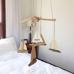 Driftwood Sailboat Mobile CUSTOM ORDER Nautical by WigglyWilliam