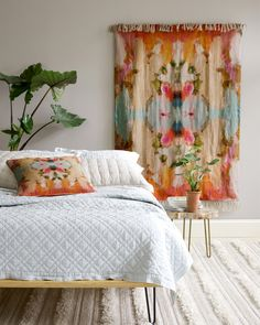 It's a throw! It's a curtain! It's the perfect add for an otherwise white room. Home Bedroom, Bedroom Decor, Bedroom 2018, Bedroom Inspo, Bedroom Ideas, Pastel Bedroom, Bedroom Colors, Colorful Decor, Colorful Rugs