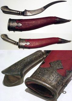 """Zirah Bouk (mail piercer), Ottoman, 19th century, thick curved damascus steel blade, with all matching niello silver decorations on the yatagan type handle and mounts, red leather sheath, 10"""" blade, full length 17 3/4."""