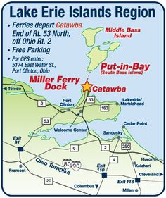 Lake Erie Shores & Islands region, map of how to reach the Miller Ferry Dock (Catawba). Shoresandislands.com