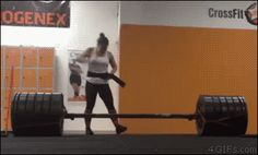Female record of lifting weights.