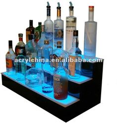 3 Steps Lighted Liquor Bottle Shelf Display $12.56~$25.25