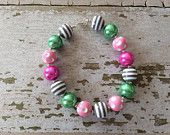 Gray, Pink and Green Chunky Bead Necklace