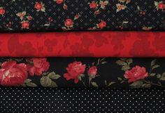 Stoffpakete - Stoffpaket  schwarz rot A131 Stoffpaket - ein Designerstück von HE-RO bei DaWanda