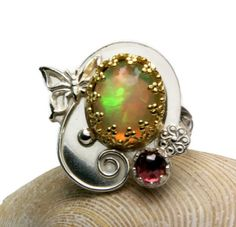 Fire Opal Ring Sterling Silver 14k Gold by TazziesCustomJewelry, $300.00