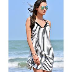 MG Collection® Black & White Vertical Stripes Swimwear Cover Up / Beach Top