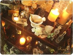 How to Practice P41 Create an altar. An altar or sacred space is the physical representation of the work area for a practicing witch. Altars vary wildly between practitioners, but generally feature some kind of oblong or rectangular raised surface, upon which important tools and spell elements are laid out. Create an altar according to your personal ideas and convictions. An altar is also the space in which the altar elements are set.