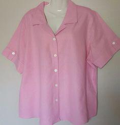 MG Women Plus Size 2X Solid Pink Linen Blend Short Sleeve Casual Shirt Blouse #MGWomen #ButtonDownShirt #Casual