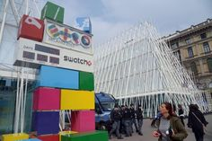 The Expo countdown clock is seen next to the 'Expo-Gate' pavilion in Milan